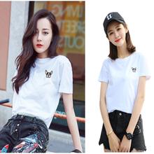 热巴明星同款白色短袖t恤女夏季2018新款宽松韩范刺绣体恤上衣服