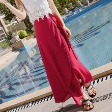 秋水仙纯色雪纺一片式长裙夏chic普吉岛沙滩度假防晒绑带半身裙女