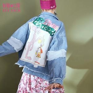 妖精的口袋牛仔短外套春装2018新款宽松chic破洞原宿ins外套女K=牛仔外套