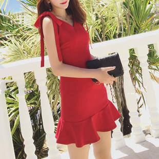 2018新款背心吊带短裙子大红色显瘦包臀鱼尾裙修身无袖连衣裙女夏