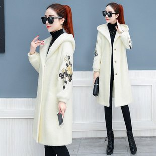 Autumn and winter gold velveteen overcoat women's long styl