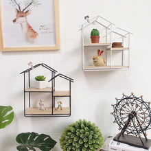 创意家居墙上墙壁装饰挂件客厅儿童房收纳置物架铁艺实木墙壁挂架