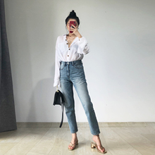 DrugDealer High waist MOM Jeans Nine-point Jeans Female Summer 2019 New Thin Loose Straight Trousers