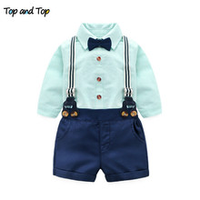 Long Sleeve Striped Shirts + Suspenders Pants + Bow Tie 3Pcs