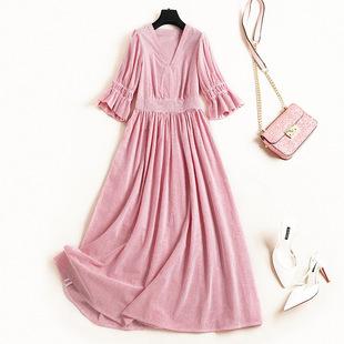 春季高腰A字连衣裙 20到25衣服26女装28穿的30岁新款长裙棉麻时尚