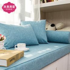 定做高密度海绵加硬飘窗垫沙发垫海绵飘窗红木沙发垫 新款亚麻
