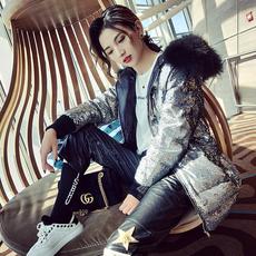 巴掌家欧洲站时尚中长款外套大毛领羽绒服女装加厚冬季2017新款潮