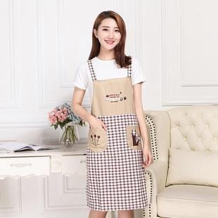 韩版可爱时尚纯棉围裙包邮厨房薄款围裙成人罩衣围腰女款背带韩式
