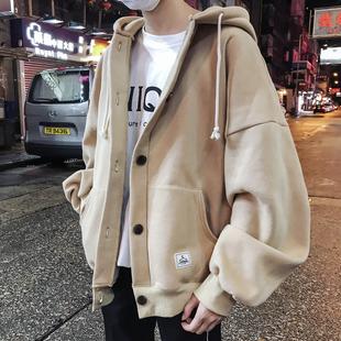 秋冬季LES帅T韩版加厚BF宽松开衫连帽卫衣潮流加绒港风chic男外套