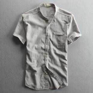 夏季新款男士休闲亚麻衬衫短袖立领透气薄款棉麻布修身国风男衬衣
