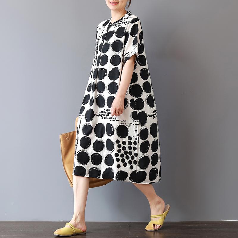 素品 夏季新款波点印花中长款休闲裙文艺宽松立领短袖棉麻连衣裙图片