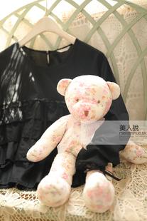 金子功古着感日式亚麻少女感气质淑女蕾丝长袖棉麻衬衫