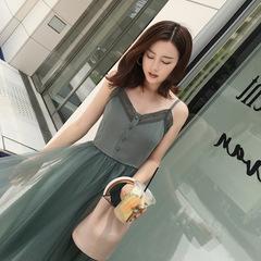 韩版春夏装新款蕾丝边显瘦V领吊带连衣裙女中长款收腰网纱裙