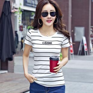短袖女2019新款夏装半袖潮纯棉条纹t恤女韩版修身上衣服字母体恤