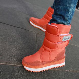 东北冬季滑雪季加绒加厚情侣防雪防滑厚底中筒保暖雪地靴女鞋棉鞋