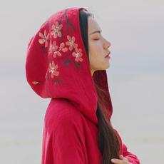 【此去经年】中国风改良汉服红斗篷外套女春秋中长款大衣宽松棉麻