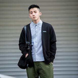 BDCT自制 日系复古纯色针织开衫男 春季薄款青年修身V领毛衣外套