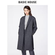 Basic House/百家好秋女装风衣时尚女装中长款羊毛大衣HRCA121A