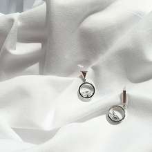 Just like a clear spring, asymmetrical half round zircon nail, exquisite super fairy, Korean temperament, 925 silver earrings.