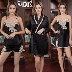 法国DK真丝睡衣性感黑色睡裙睡袍蕾丝长袖吊带春夏家居服两三件套