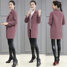2017冬季新款韩版女装茧型中长款毛呢外套小个子修身气质呢子大衣