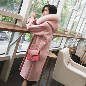 秋冬季女装新款韩版皮毛一体麂皮绒毛呢外套女中长款加厚加绒大衣羊绒大衣