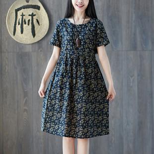 夏装新款民族风碎花棉麻短袖连衣裙复古印花收腰系带宽松大码裙子