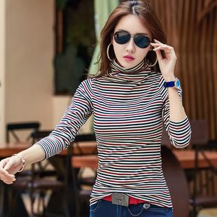 条纹长袖t恤女bf休闲百搭韩版秋季打底修身显瘦纯棉个性前卫潮流