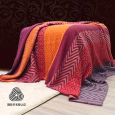 澳洲羊毛复古软糯提花单人床上盖毯沙发毯冬季保暖羊毛毯