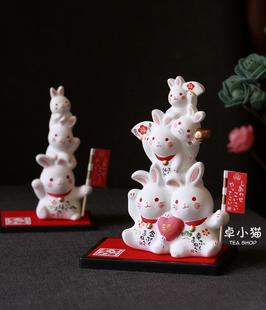 现货 日本制濑户烧 药师窑可爱兔 叠罗汉 招财兔招财猫 招福摆件图片