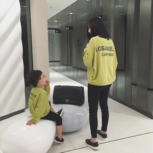 辰辰家 亲子装秋装韩版T恤2016新款母子母女装宽松竹节棉T恤上衣亲子装