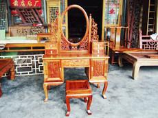 红木明清古典实木中式仿古家具/非洲黄花梨/梳妆台/化装台/带凳子