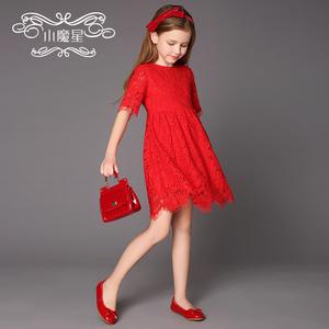 女童蕾丝连衣裙公主裙小魔星童装夏装2018新款女大童儿童连衣裙儿童连衣裙