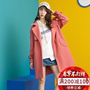 至简元素冬季呢大衣女绑带中长款韩版2017新款糖果色毛呢外套学生