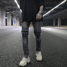 Euro-American High Street BIKER JEANS Stereo Cut Hole Patch Locomotive Elastic Body-shaping Small-foot Jeans GD