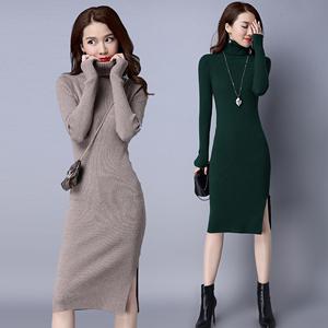 打底高领毛衣女套头中长款加厚保暖秋冬韩版修身百搭羊毛衫毛衣裙