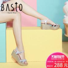 聚BASTO/百思图女鞋夏季专柜同款羊皮甜美花边坡跟凉鞋TUI14BL7