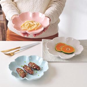 彩色陶瓷<span class=H>盘子</span>碗<span class=H>套装</span>创意菜盘家用<span class=H>可爱</span>卡通西餐盘寿司盘零食小吃盘