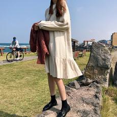 秋冬新款女装韩版荷叶边中长款裙子学生棉麻打底裙宽松长袖连衣裙
