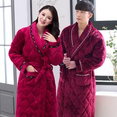 法兰绒夹棉睡袍男冬加厚加长款珊瑚绒浴袍女士冬季情侣保暖睡袍