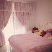 简约现代蕾丝成品遮光窗帘公主风粉色定做卧室客厅双层飘窗短帘