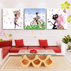 华伦美景客厅卧室餐厅装饰画挂画花仙子三联无框画壁画墙画