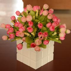 欧式玫瑰整体花艺假花绢花仿真花套装客厅餐厅家居装饰花摆设批发