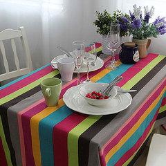 优麦包邮特价20款欧式田园现代餐桌布纯棉麻布艺桌布台布蓝玫条纹