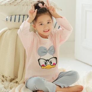 春秋季女童韩版睡衣长袖纯棉小孩套装宝宝薄款儿童家居服女孩卡通
