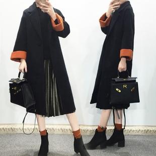 黑色毛呢外套女2016冬装新款韩版宽松加厚中长款茧型羊毛呢子大衣