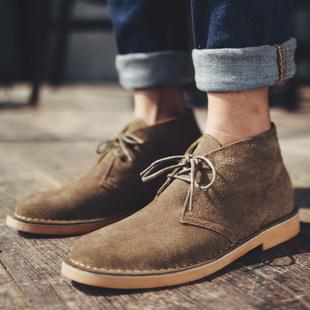 马登男士马丁靴英伦短靴男沙漠靴休闲皮靴男靴秋冬季加绒男鞋潮鞋
