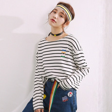唐狮2017春装新款T恤 女刺绣条纹长袖T恤