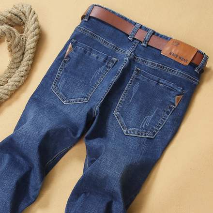 新款秋冬款男士修身牛仔裤男直筒青年弹性水洗牛子裤秋季厚长裤子