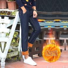 广州服饰春季新款款加绒加厚男士牛仔裤直筒宽松保暖裤男休闲长裤